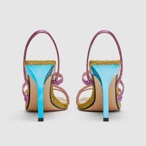 Zara Shoes - Zara Rainbow Glitter Sparkle Strappy Party Heels